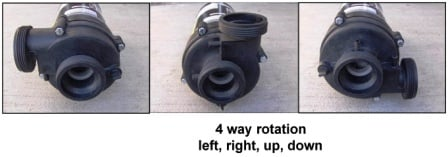 hot tub pump 4 way Rotation