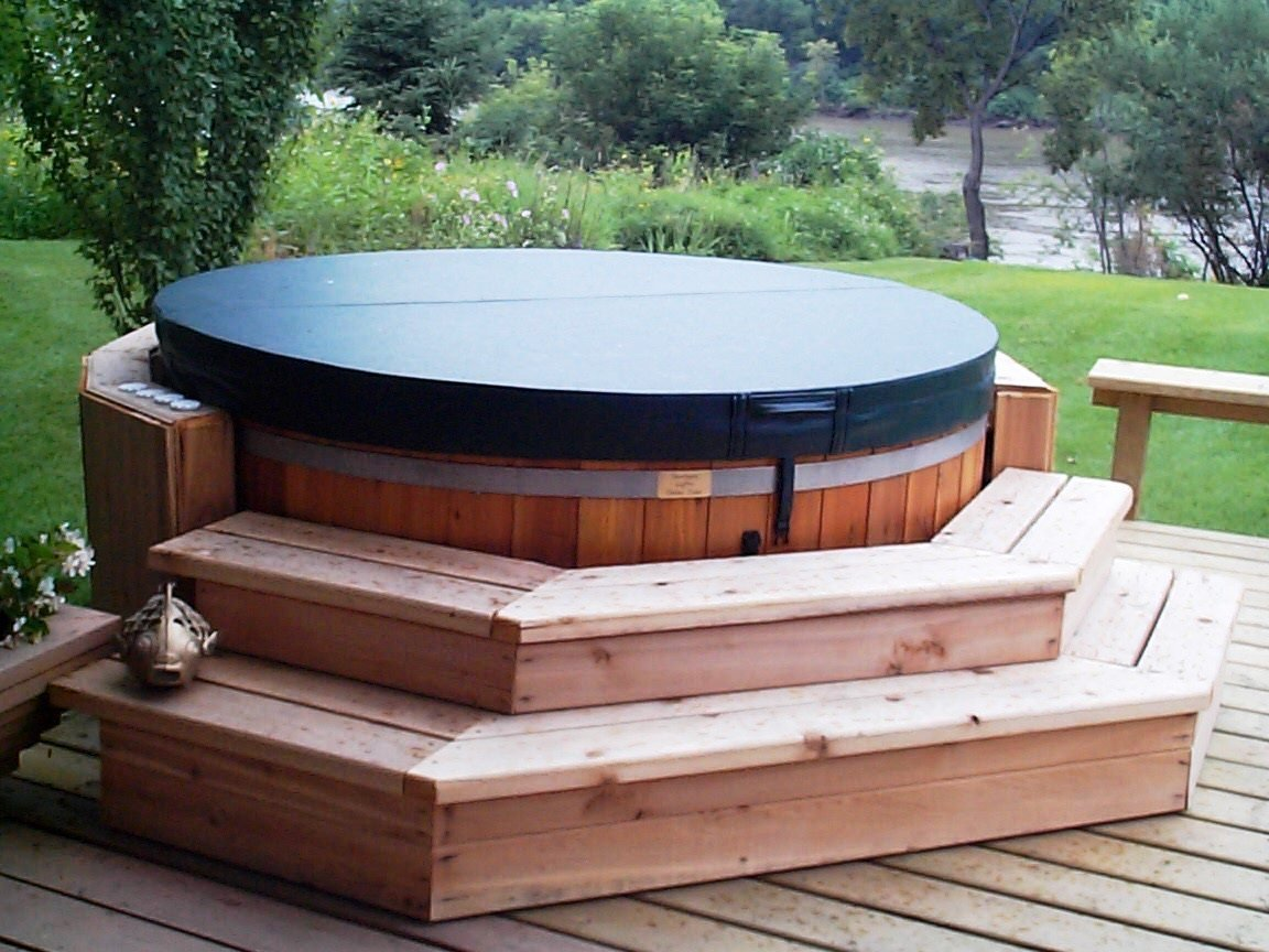 Cedar wood hot tub propane or natural gas seats 8 ebay for Types of hot tubs