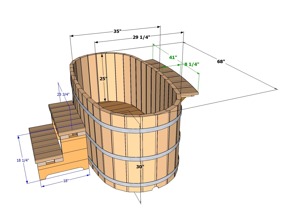 Ofuro tubs specifications wooden ofuros - Jacuzzi 2 places dimensions ...