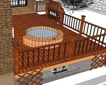 hot tub in low deck