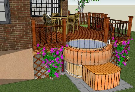 wood hot tub partial deck