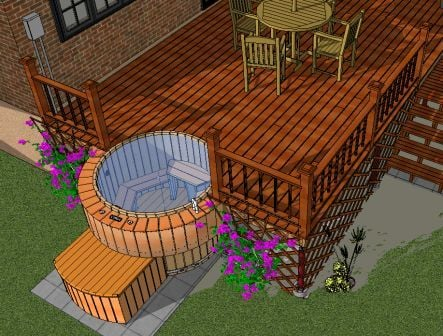 Hot tub designs tubs in decks for Hot tub deck designs plans
