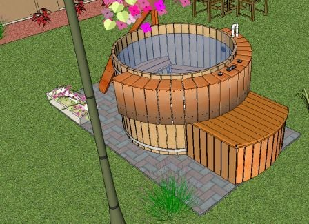 hot tub with stairs