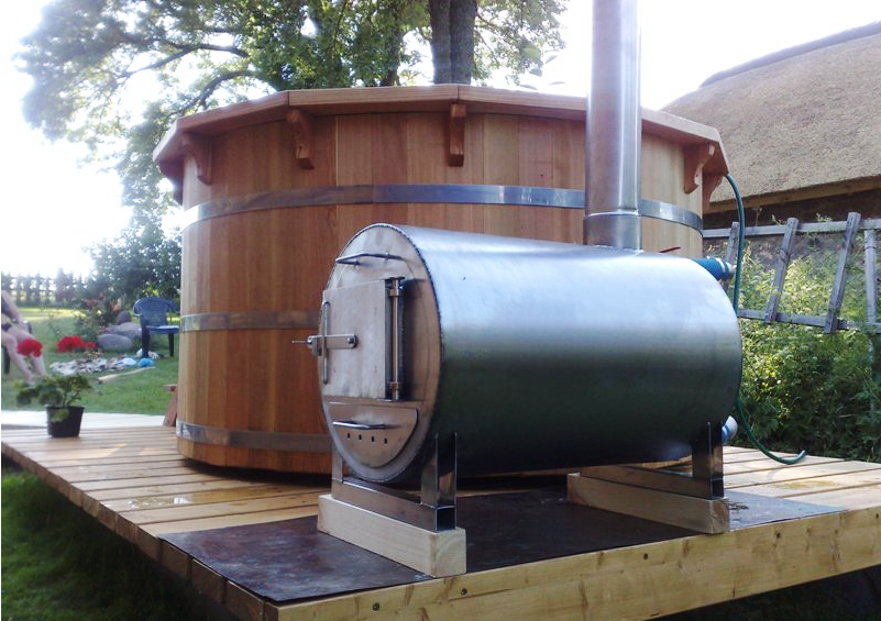 Wood fired hot tub heater