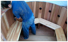 Install seats in a DIY Hot Tub