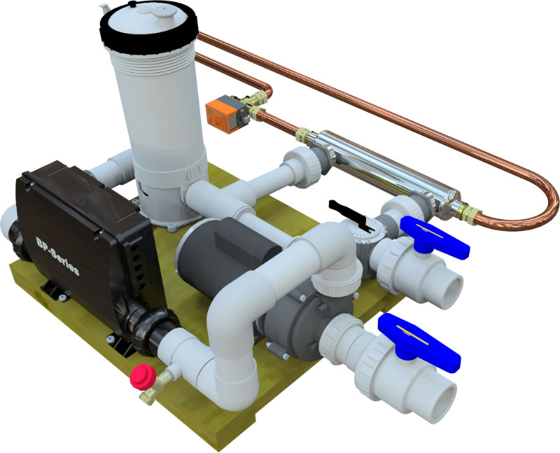 Skid Pad with Heat Exchanger including zone valve Hybrid Hot Water with Extended Piping rendered
