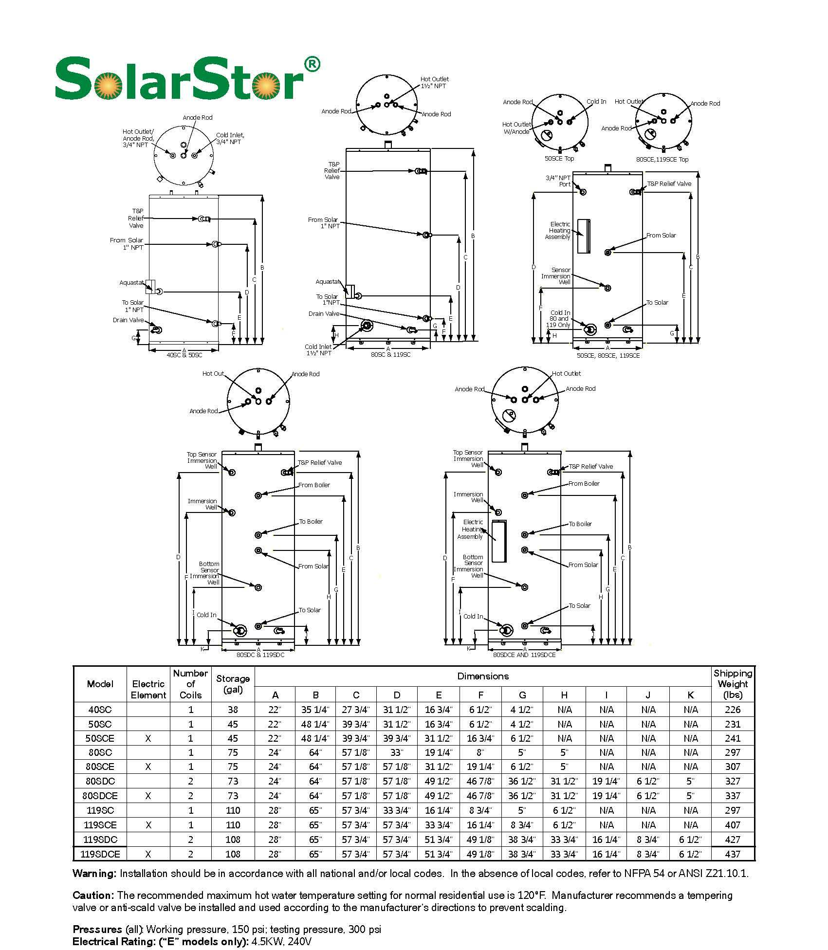 solar storage tank specifdications