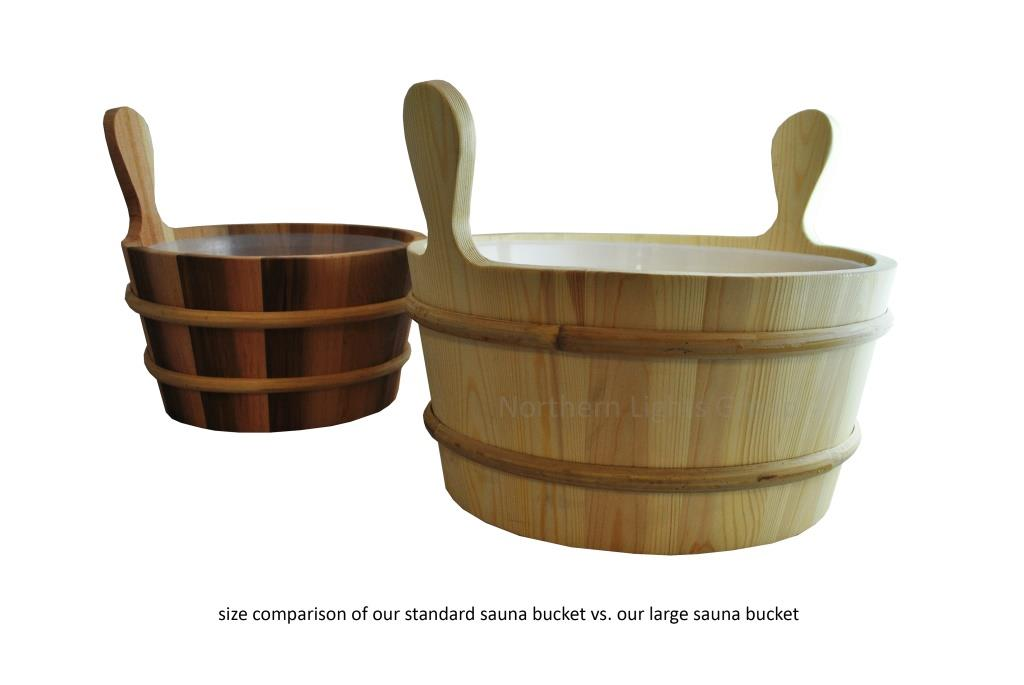sauna bucket size comparisson