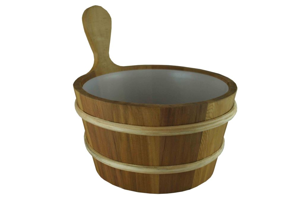 wood cedar sauna bucket