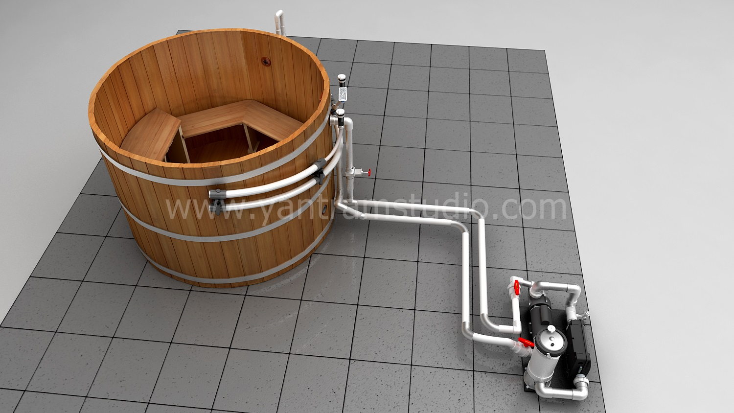hot tub with extended piping kit